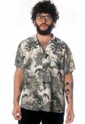 Camisa Folhagens Estampada Animal Print ElephunK Zoo Branca
