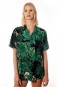 Camisa Folhagens Estampada Animal Print ElephunK Zoo Verde