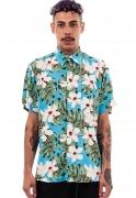 Camisa Folhagens Estampada Cubana Havana ElephunK Azul