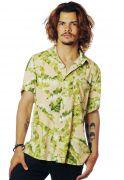 Camisa Folhagens Estampada ElephunK Bananeira Bege
