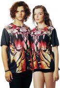 Camiseta Animal Print Estampada Full Print Unissex Tigre Asian Preta BF