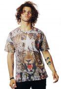 Camiseta Animal Print Oncinha Estampada Full Print Fa$hion Power Marrom BF