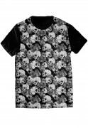 Camiseta Caveira Floral Mexicana Skull Tshirt Rock Camisa