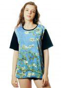 Camiseta ElephunK Estampada Van Gogh Blossom Preta