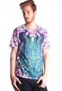 Camiseta Estampada Pavão AnimalPrint Full Print Unissex Peacock BF2