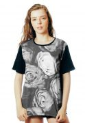 Camiseta Floral ElephunK Estampada PB Off Florida Preta