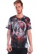 Camiseta Floral Estampada Full Print Unissex Peace BF2