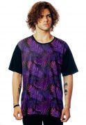 Camiseta Folhagens ElephunK Estampada Tropical Dark Neon Preta