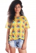 Camiseta Maconha Estampada Full Print Unissex Mary Jane BF3