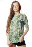 Camiseta Tropical Fun Estampada Full Print Unissex Verde BF2