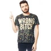 CAMISETA CAMUFLADA ESTAMPADA FULL PRINT UNISSEX WRONG BITCH