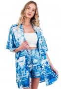 Cardigan Kimono Estampado ElephunK Mirror Tiles Azulejos Portugueses Azul