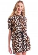 Conjunto Estampado Oncinha Animal Print Camisa + Shorts Classic