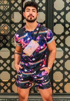 Conjunto Galaxy Estampado Camiseta + Shorts Unissex Unicórnios
