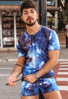 Conjunto Galaxy Estampado Camiseta + Shorts Unissex Universo