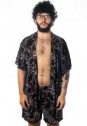 Conjunto Kimono + Shorts Animal Print Estampado ElephunK Cobra Feminino Masculino Moda Marrom