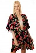 Cardigan Kimono Floral Escuro Estampado ElephunK Portland Feminino Masculino Moda Vermelho