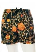 Shorts Estampado Sem Gênero Correntes Ouro Velho Preto