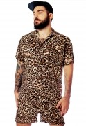 Shorts Oncinha Estampado Animal Print Onça Unissex Marrom