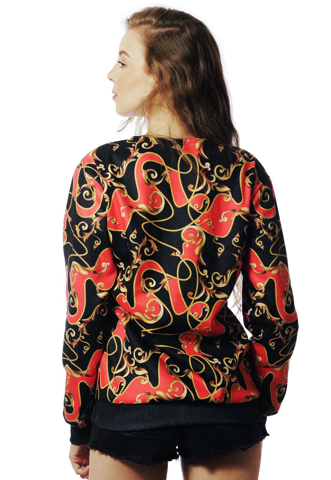 Blusa Moletom Barroco Estampado ElephunK Full Print Unissex Red