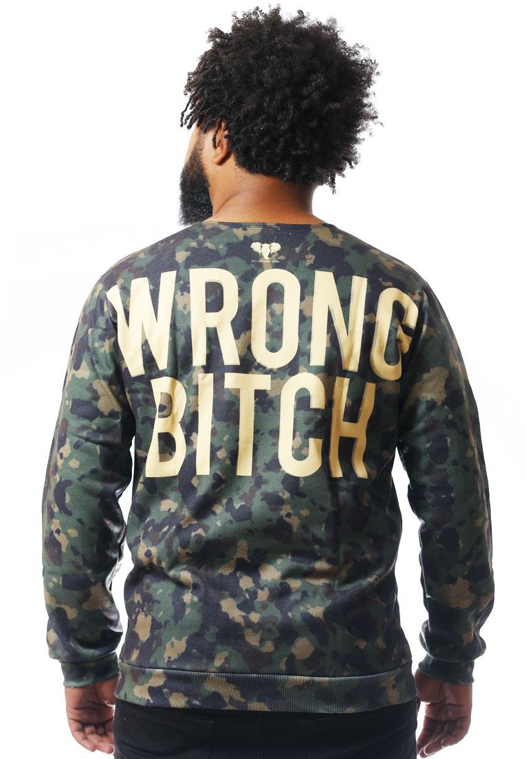 Blusa Moletom Camuflada Estampado Full Print Unissex Wrong Bitch BF5