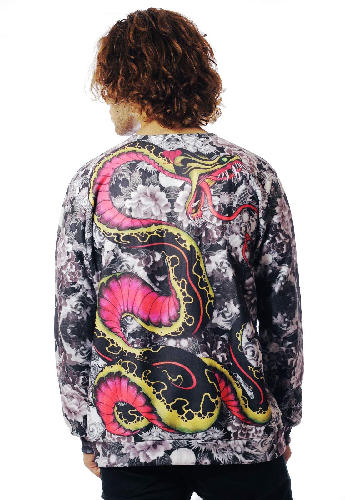 Blusa Moletom Estampada ElephunK Full Print Oriental Tatuagem Kobra