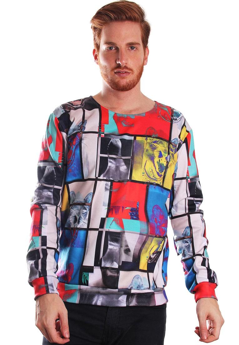 Blusa Moletom Estampado Full Print Mondrian Je Suis L'art Tumblr BF5