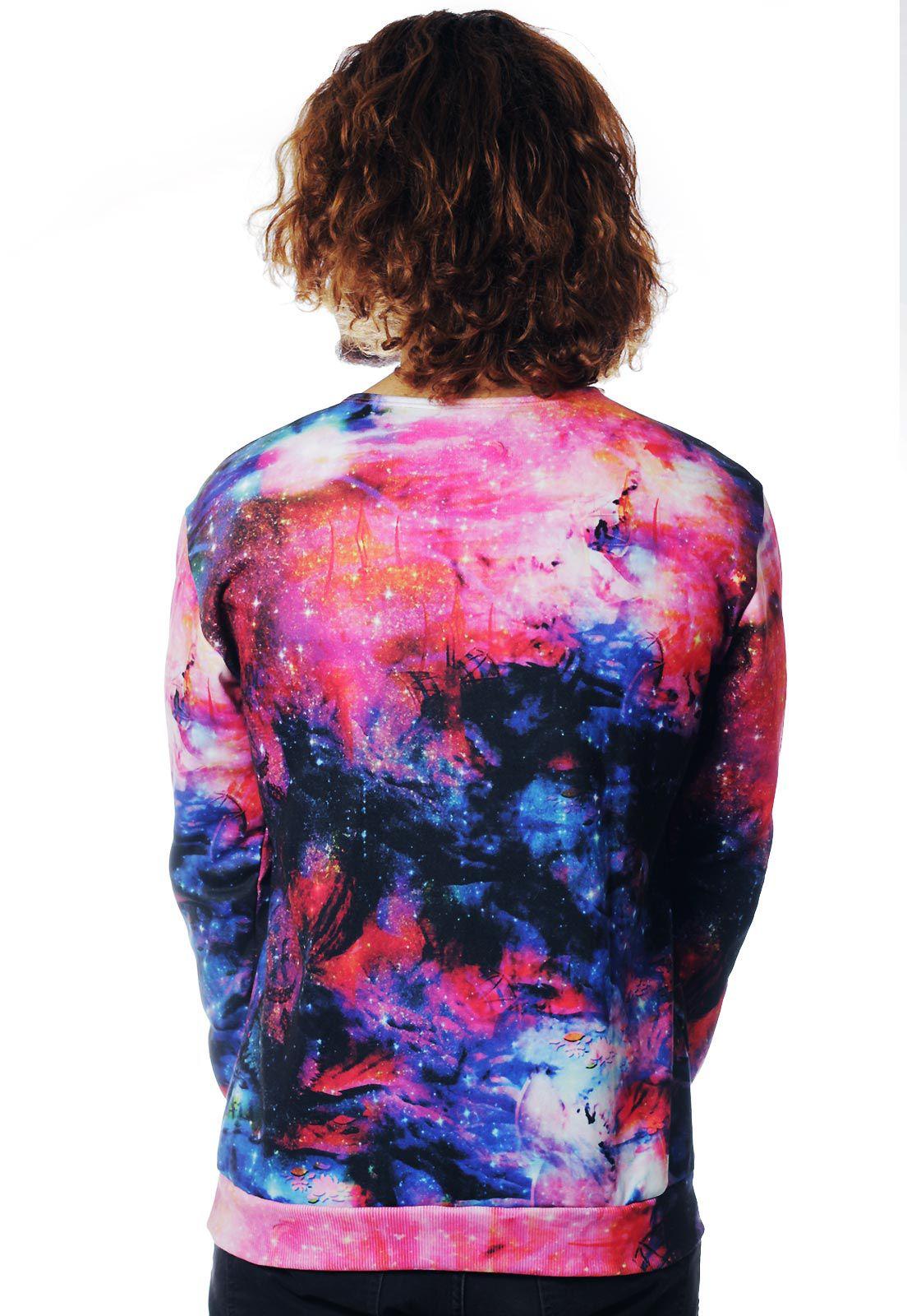 Blusa Moletom Galaxy Estampado ElephunK Full Print Unissex Shiva