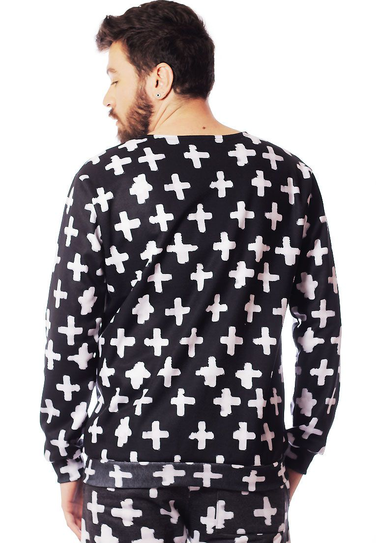 BLUSA MOLETOM ESTAMPADO FULL PRINT UNISSEX POSITIVE BLACK