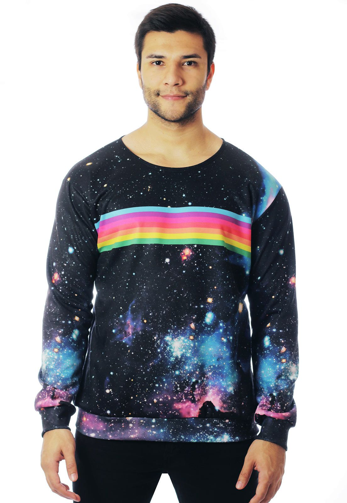 BLUSA MOLETOM ESTAMPADO GALAXY FULL PRINT UNISSEX RAINBOW GALAXY
