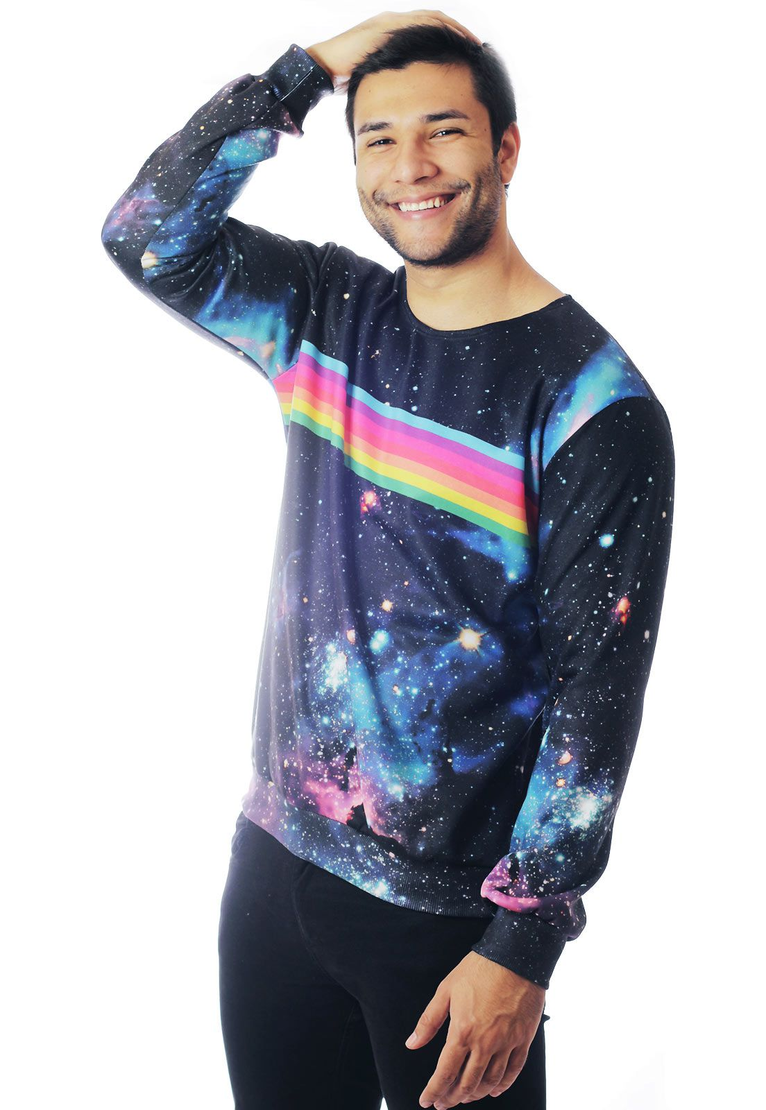 BLUSA MOLETOM ESTAMPADO GALAXY FULL PRINT UNISSEX RAINBOW