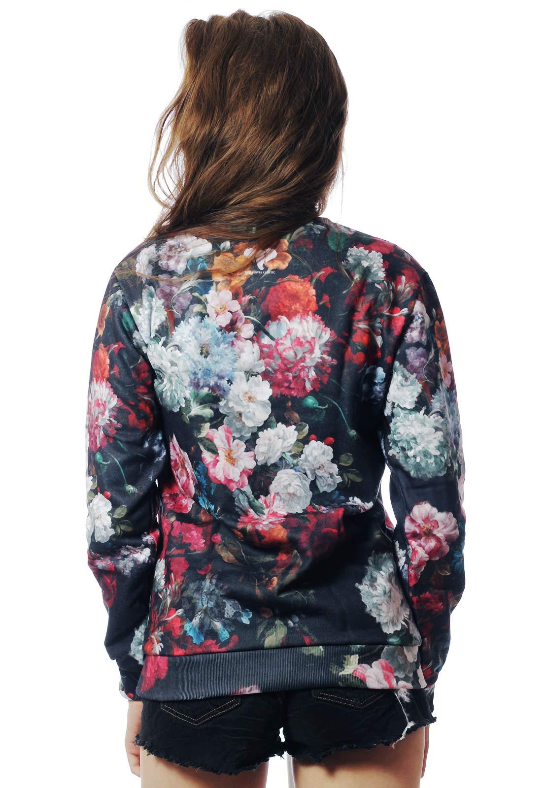 Blusa Moletom Floral Estampado ElephunK Full Print Unissex Peace