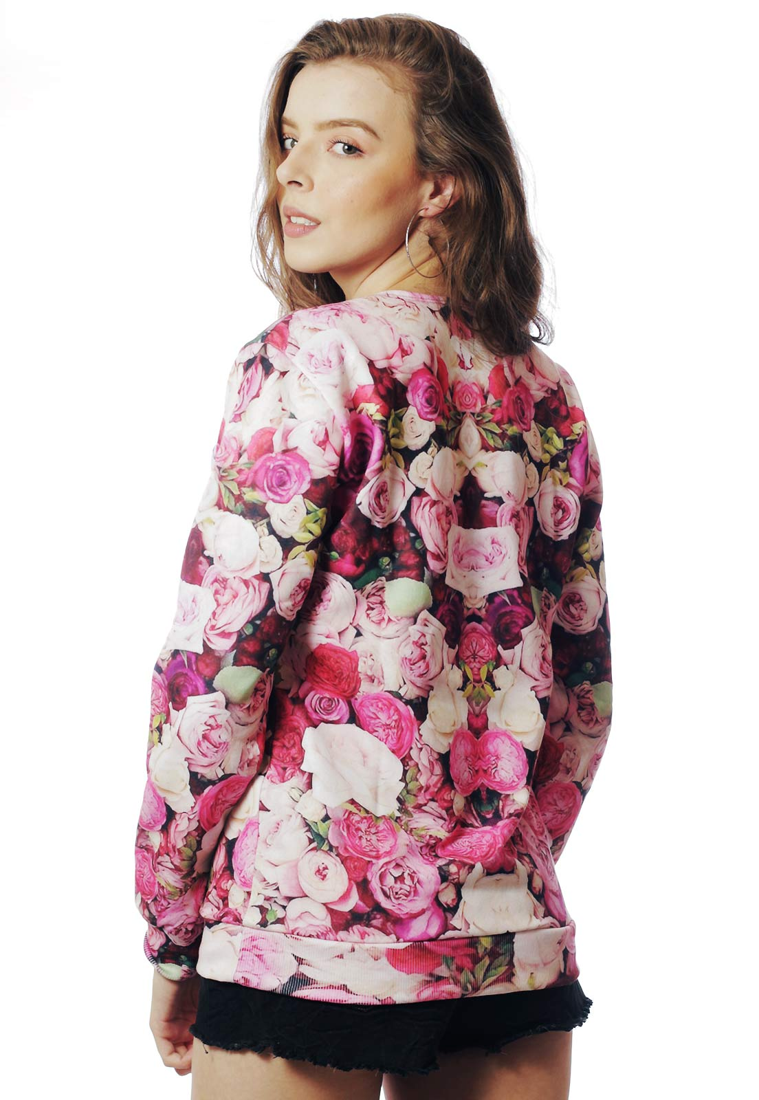 Blusa Moletom Floral Estampado Full Print Unissex Too Glam