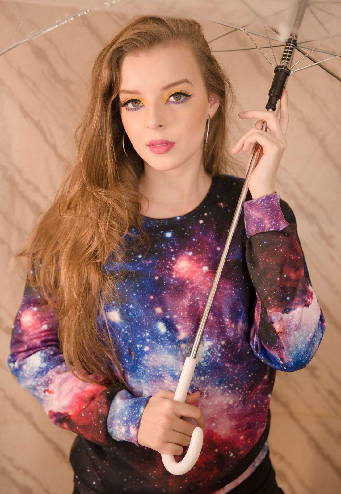 Blusa Moletom Galaxy Estampado Full Print Unissex Espaço Roupas Tumblr
