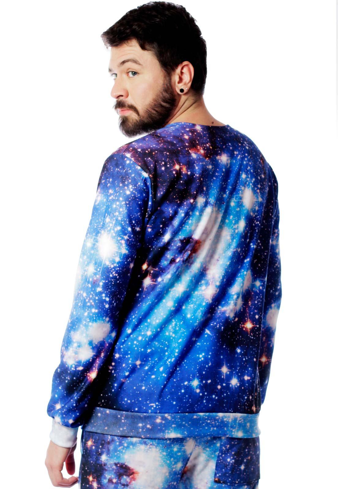 Blusa Moletom Galaxy Estampado Full Print Unissex Universo Roupas Tumblr
