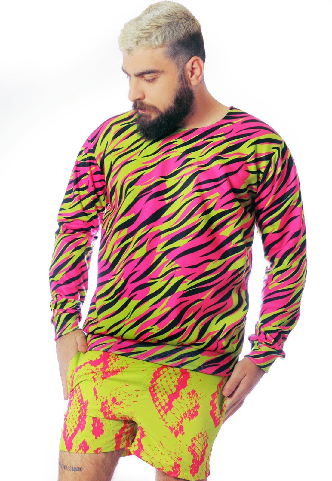 Blusa Moletom Neon Estampada ElephunK Fashion Animal Print Rosa