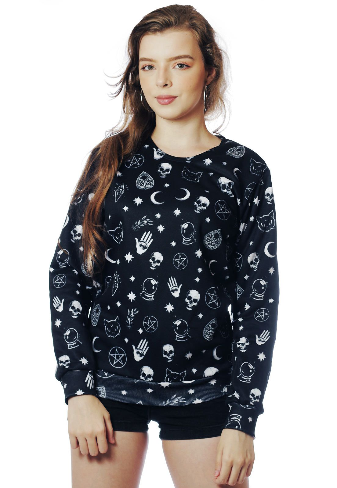 Blusa Moletom Tumblr Estampado ElephunK Full Print Unissex Black Magic