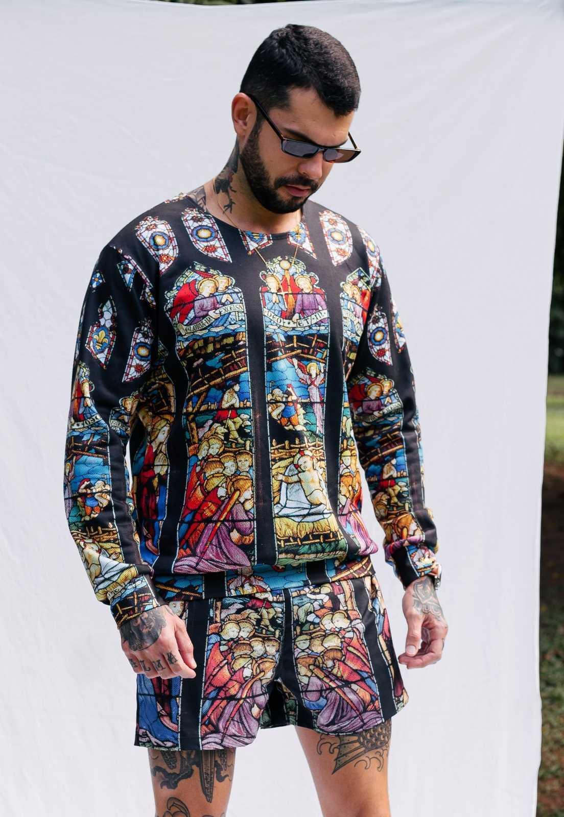 Blusa Moletom Vitral Estampada ElephunK Sem Gênero Arte Gótica