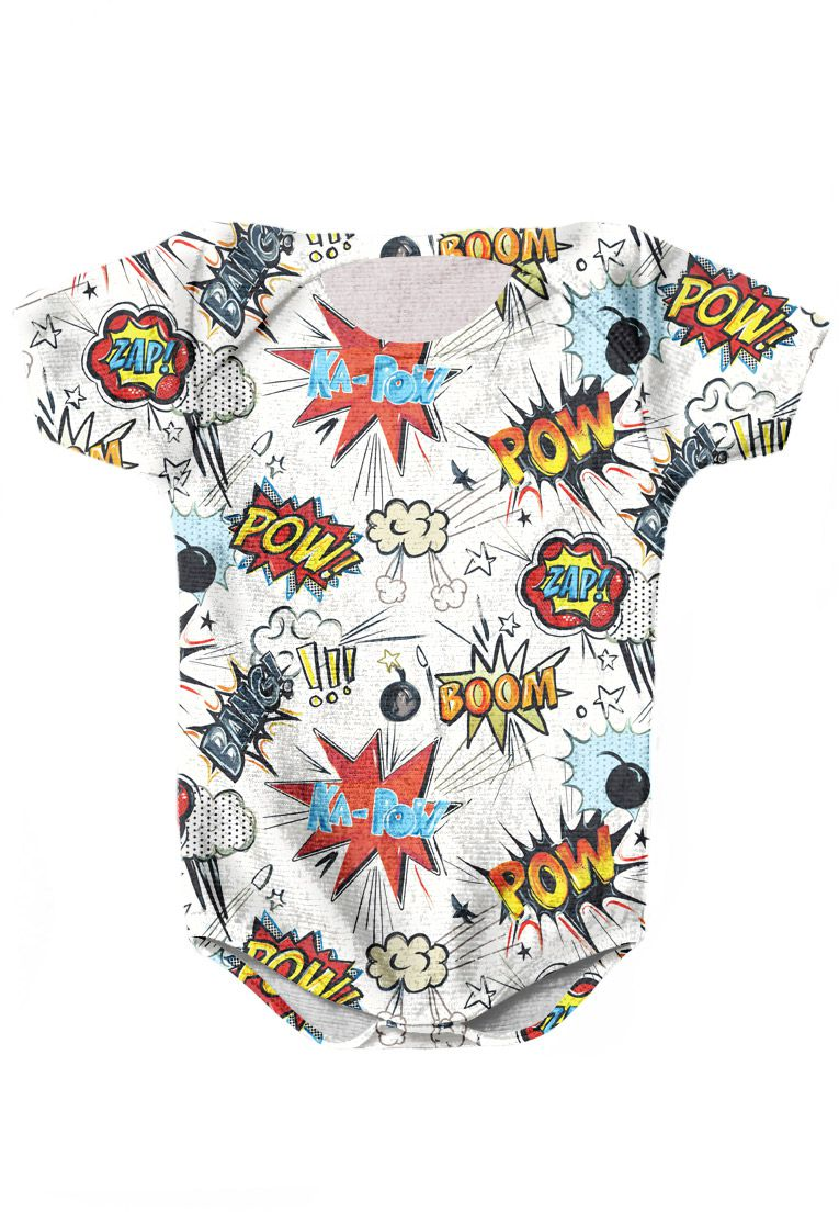 BODY INFANTIL ESTAMPADO FULL PRINT BOOM BANG!