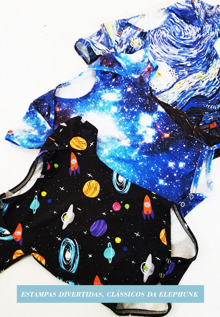 BODY INFANTIL ESTAMPADO FULL PRINT GALAXY UNIVERSO