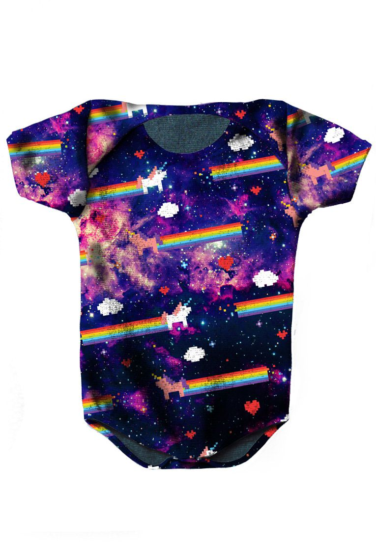 BODY INFANTIL UNICÓRNIOS ESTAMPADO FULL PRINT GALAXY