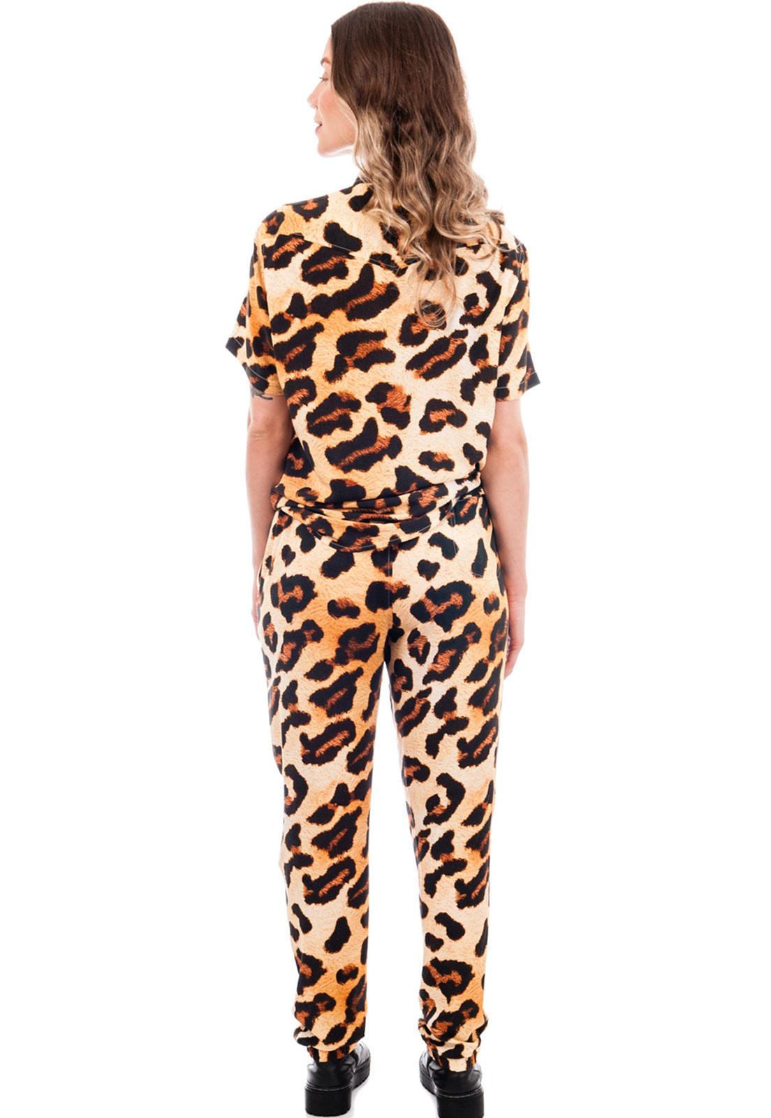 Calça Oncinha Estampada Viscose Animal Print Unissex Amarelo