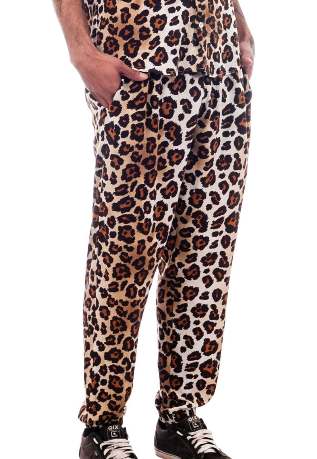 Calça Oncinha Estampada Viscose AnimalPrint Unissex Marrom
