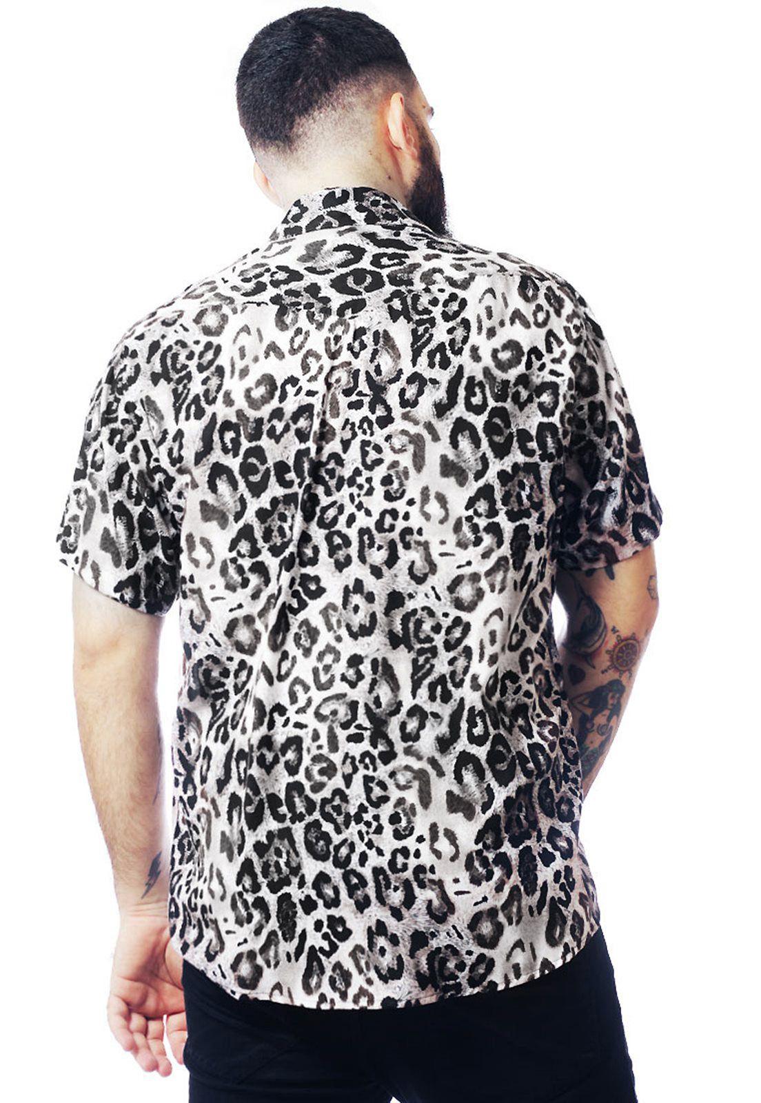 Camisa Animal Print Estampada ElephunK Leopardo Cinza