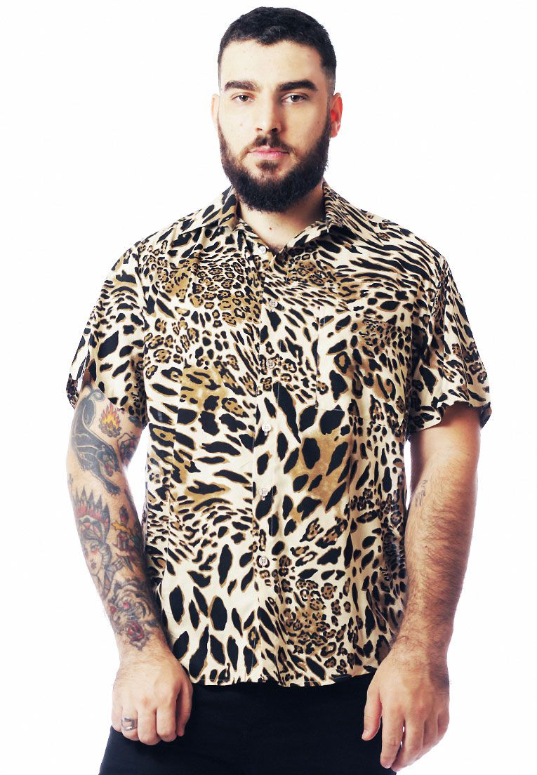 CAMISA ANIMAL PRINT ESTAMPADA ONÇA