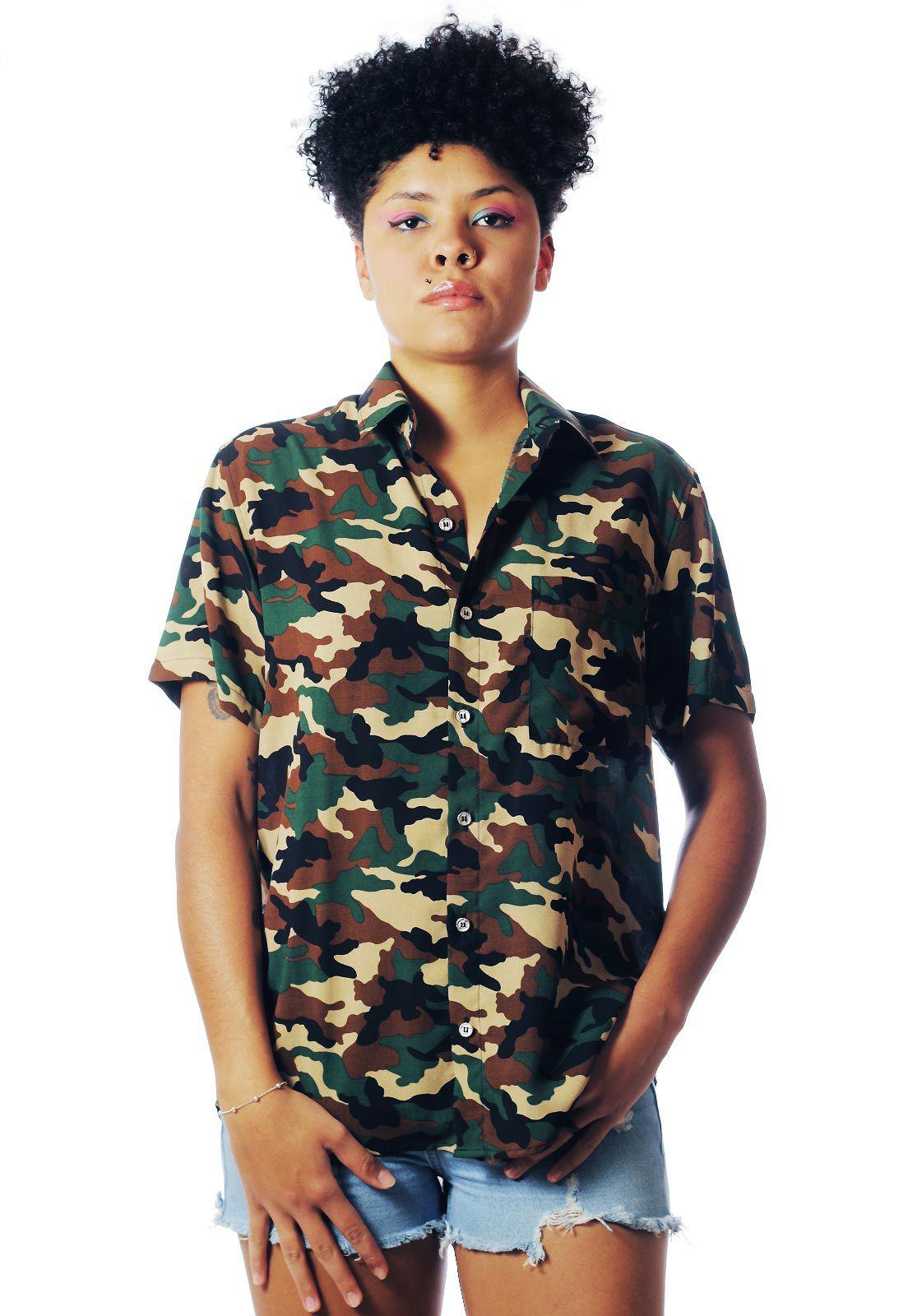 Camisa Camuflada Estampada ElephunK Exército Verde