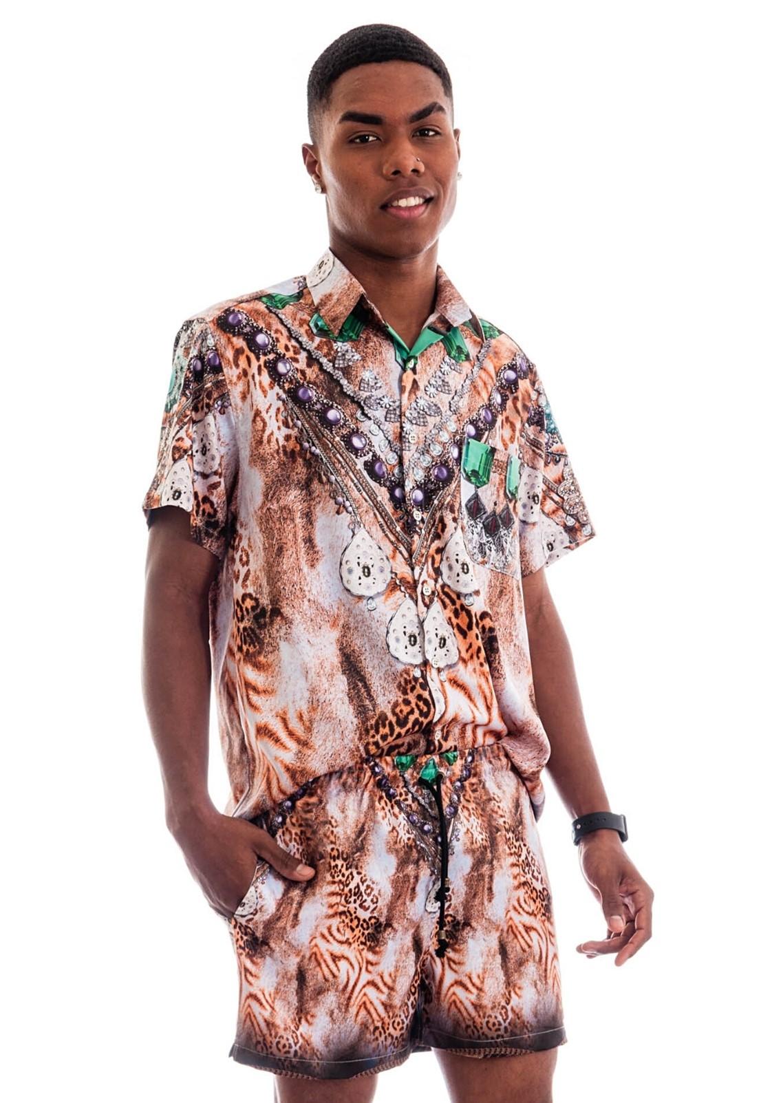 Camisa Estampada Animal Print Sem Gênero ElephunK Diamonds Bege
