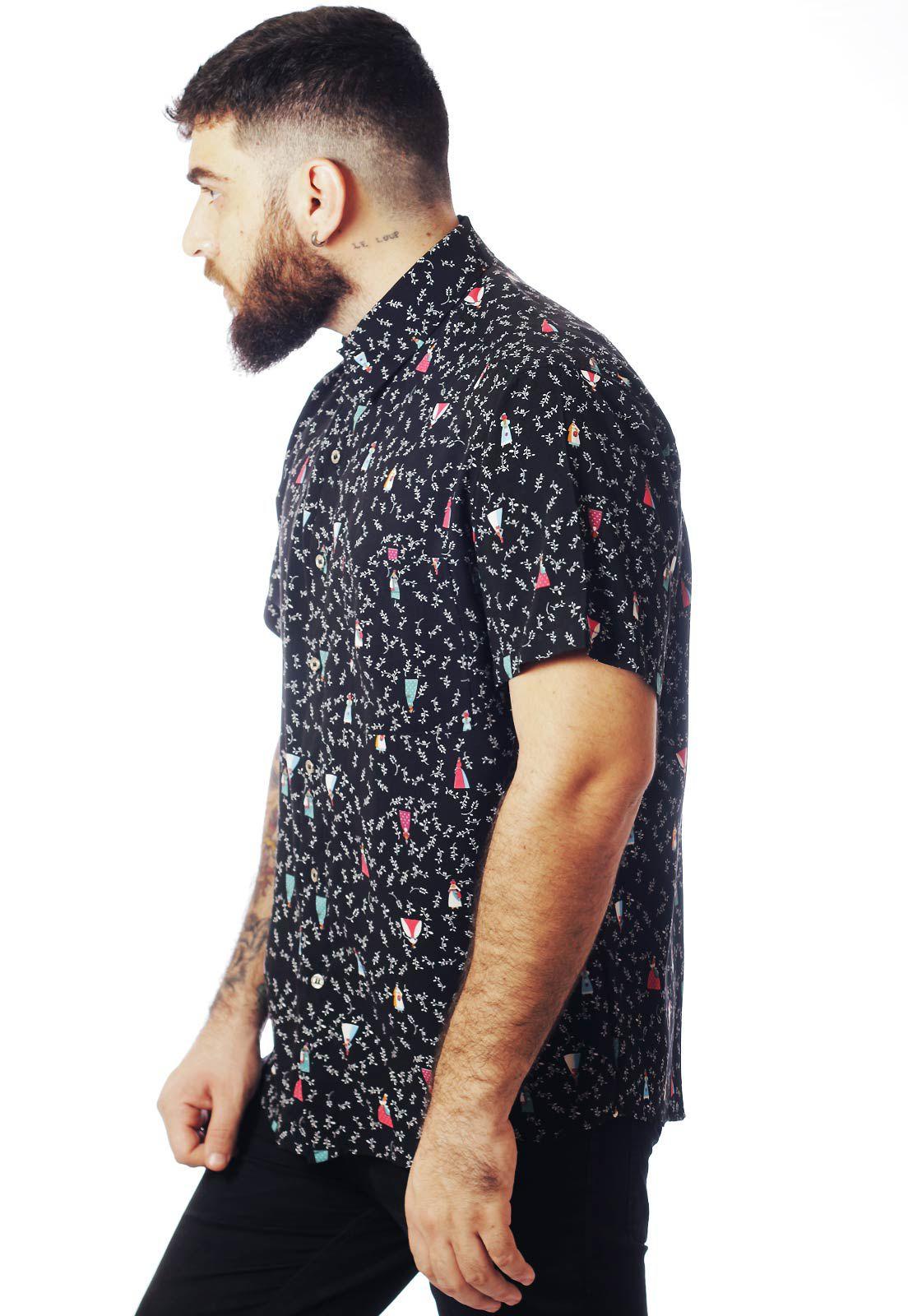 Camisa Estampada ElephunK Fashion-Culture Preta
