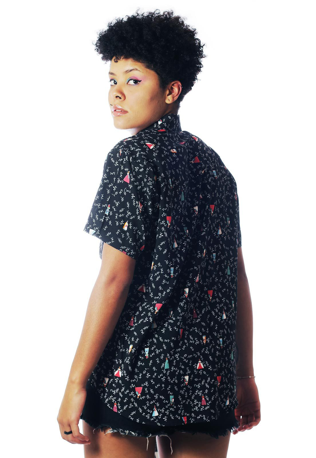Camisa Estampada ElephunK Fashion-Culture Preta