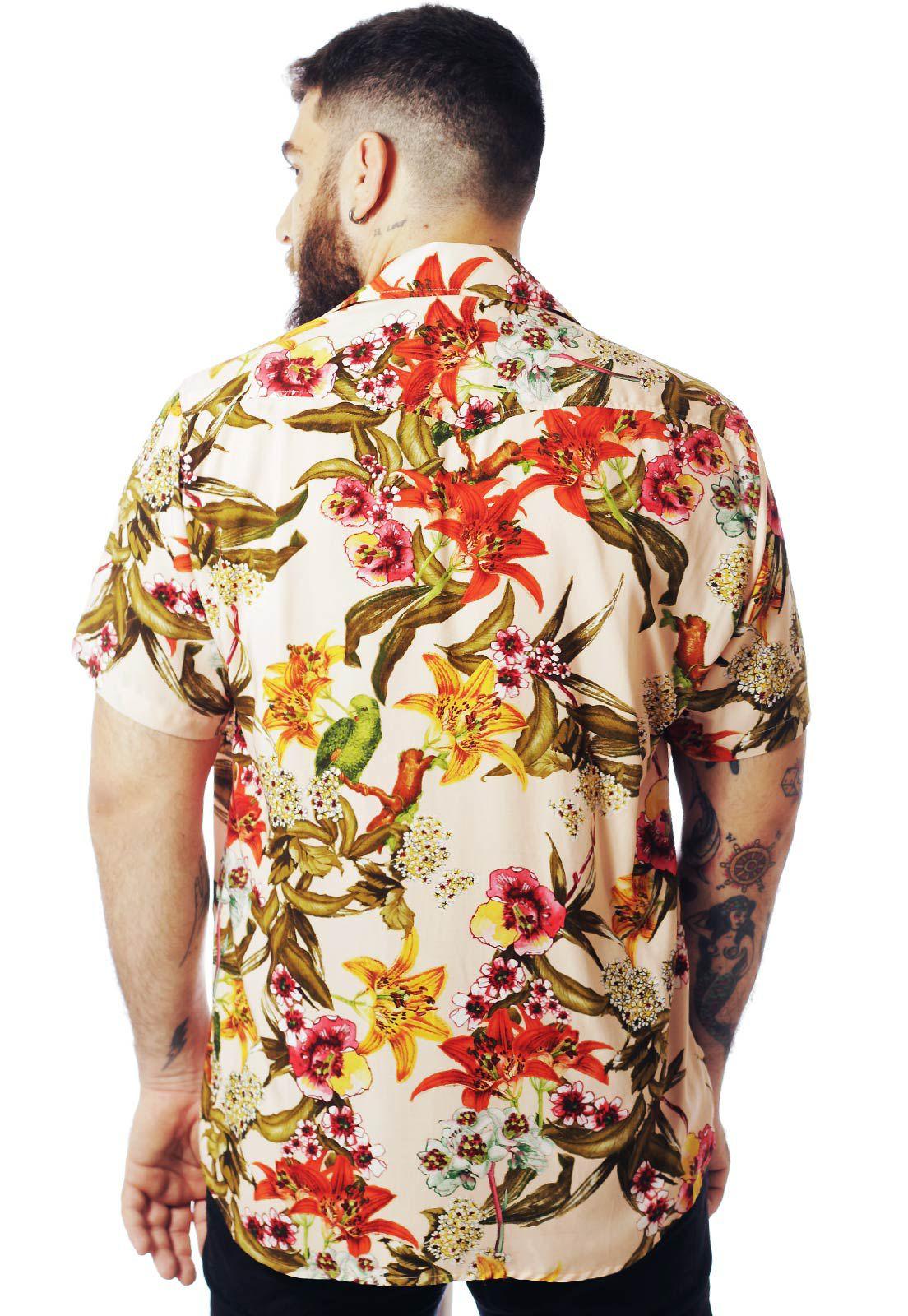 Camisa Floral Estampada ElephunK West Palm Salmão